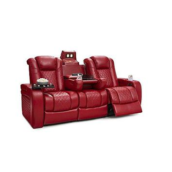Seatcraft Anthem Home Theater Seating Leather Multimedia Power Recline Sofa with Drop-Down Table, Powered Headrests, Storage, and Cupholders (Red)
