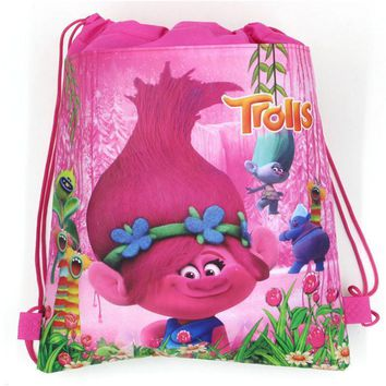 12Pcs  Lovely Trolls Non-Woven Fabric Backpack Kids Favors Drawstring Bags Baby Shower Birthday Party Traveling Bags Gift