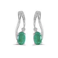 14K White Gold Oval Emerald and Diamond Wave Earrings