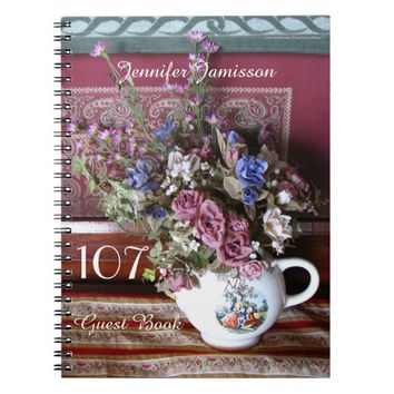 107th Birthday Party Guest Book, Vintage Teapot Notebook