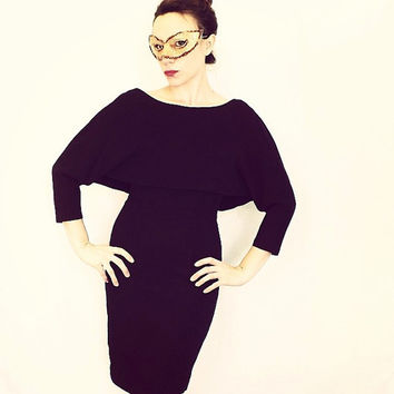 Vintage 1950s 60s Black Cape Sleeve Dress Party Cocktail Wiggle Mad Men Small Medium Elegant Mod Vogue Couture Fitted Cape Dress Avant Garde
