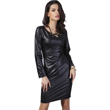 Summer Dress 2015 New Arrival Woman Fashion Faux Leather Dress Long Sleeve Above Knee Mini Sexy Black Bodycon Midi Women Dresses