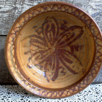 "Pottery Bowl, Signed ""?"", Folk Art Bowl, Earthenware, Stoneware, Handmade Pottery, Serving, Deep Bowl, Collectible Pottery"