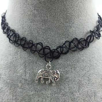 tattoo choker with silver elephant gift box  number 1