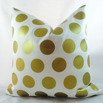 Gold Metallic minimalist large polka dot pattern on ivory cotton blend fabric