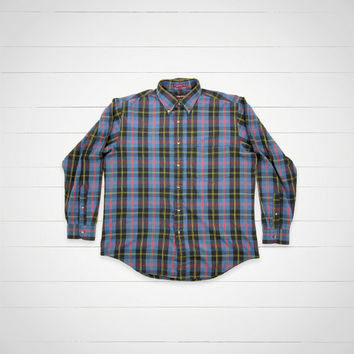 80s Vintage Plaid Shirt  / 1980s Plaid Button Down by Savile Row / Preppy Urban Outfitters Style