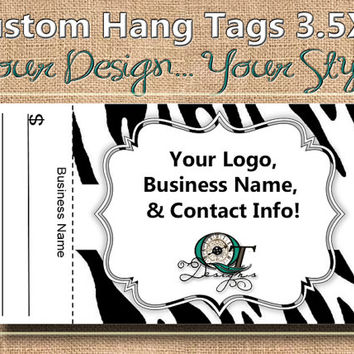 Zebra  Print Custom Hang Tag Business Card Style Printing  Matte  3.5 x 2 inch cards Design services available Sales Tags Shop Tags