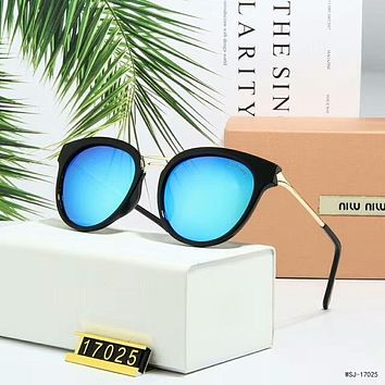 Miu Miu Popular Women Simple Summer Sun Shades Eyeglasses Glasses Sunglasses Blue I-A-SDYJ