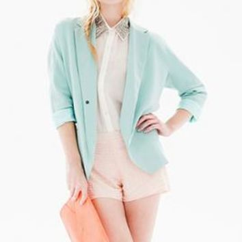 Apple of My Eye Boyfriend Blazer in Mint Blue by Lush | Sincerely Sweet Boutique
