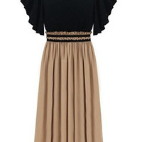 Black and Brown Bell Short Sleeve Pleated Chiffon Dress