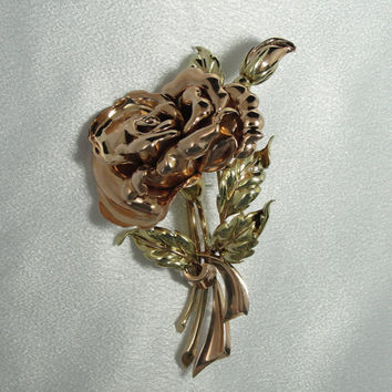 Vintage Tiffany and Company Rose Bouquet Brooch in Solid Gold FEJ86T-R