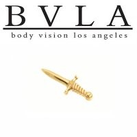 18g 16g 14g 12g Body Vision BVLA 14kt Gold Dagger Slasher Knife Mircodermal Top Threaded End [10-0427 BVLASlasherEnd] - $105.00 : Diablo Body Jewelry, The Art of High Quality