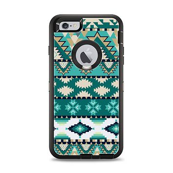 The Vector Teal & Green Aztec Pattern  Apple iPhone 6 Plus Otterbox Defender Case Skin Set