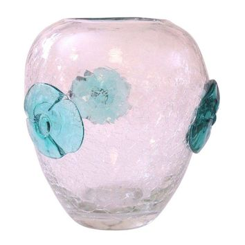 Pre-owned Blenko Crackle Glass Hand-Blown Vase