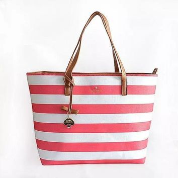 Fashion Kate Spade Women Shopping Leather Tote Handbag Shoulder Bag Pink&White Stripe