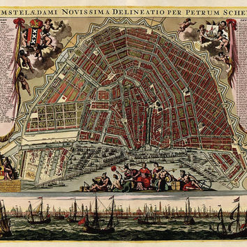 Antique Map of Amsterdam, Netherlands (c1702)  - Archival Reproduction
