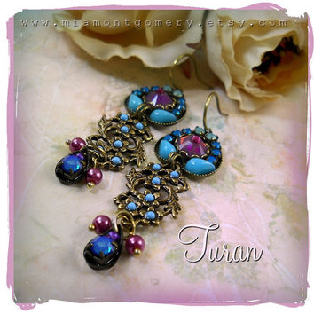 Turan Micro Mosaic Earrings - Violet Purple Turquoise Fuchsia Pink, Flower Floral Vines, Custom Bridal, Garden Wedding, Goddess, Bridesmaid
