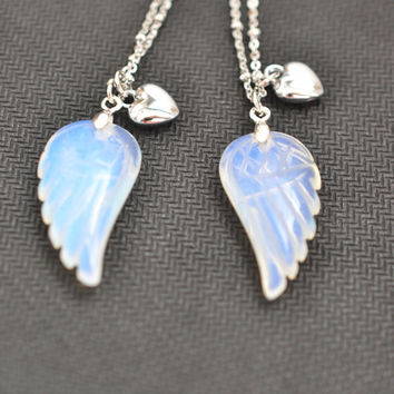 angel wing necklace,opal necklace,silver wing jewelry,heart jewelry,friendship bff jewelry,bridesmaid necklace,sister keepsake memorial gift