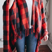 Red & Black Oversized Plaid Blanket Scarf