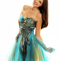 Peacock Applique Strapless Tulle Homecoming Dress-Size 0-14 - Unique Vintage - Cocktail, Evening  Pinup Dresses