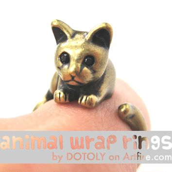 Kitty Cat Animal Wrap Around Ring in Brass - Sizes 4 to 9 Available