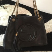 Original Gucci Soho Women's Tote Bag Black Leather Tassel Medium