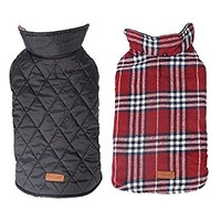 Yaheeda Cozy Waterproof Windproof Reversible British style Plaid Dog Vest Winter Coat Warm Dog Apparel for Cold Weather Dog Jacket for Small Medium Large dogs with Furry Collar (XS - 3XL )