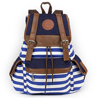 IBSound Stripe School College Bag - Casual Daypack / Canvas Backpack - Blue