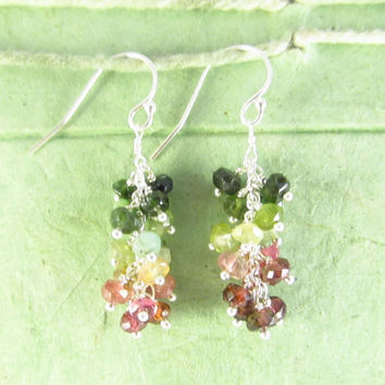 Watermelon tourmaline grape cluster silver dangle briolettes green pink white