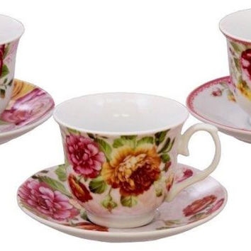Assorted Rose Bulk Porcelain Teacups and Saucers include 6 Tea Cup & 6 Saucers