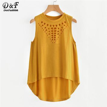 Dotfashion Laser Cut Dip Hem Tank Top 2018 New Arrival Spring Hollow Round Neck Woman Clothing Yellow Casual Cotton Tank