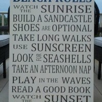LARGE Beach Rules Word Art Wood Sign Extra Large | SignsofElegance - Housewares on ArtFire