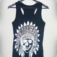 Skull Indian Shirt Awesome  shirt Men Women vest S M L XL native skull tank top Black Cotton shirt singlet sleeveless/ fashional clothing