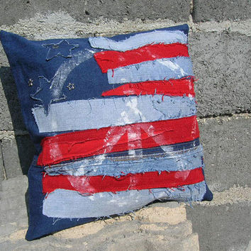 Pillow cover ROCK GRUNGE HIPPIE american flag peace in usa