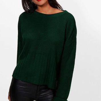 Hailey Turn Up Cuff Rib Edge Jumper | Boohoo