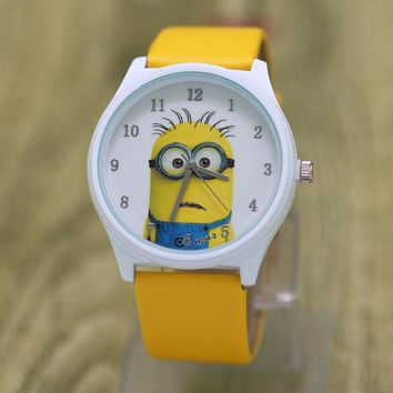 dropshipping 3D Eye Despicable Me minion Cartoon watch Cute Children clock Baby kid Quartz Sport Wrist Watches for Girls Boys