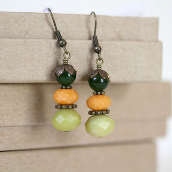 Summer Melon Colored Antiqued Brass Dangling Gemstone Earrings