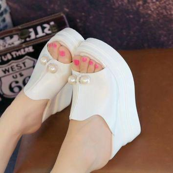 DCK7YE Summer Women Wedges Sandals Sexy Beading Platform Slippers Shoes