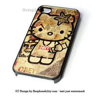 Obey Hello Kitty iPhone 4 4S 5 5S 5C 6 6 Plus , iPod 4 5  , Samsung Galaxy S3 S4 S5 Note 3 Note 4 , and HTC One X M7 M8 Case