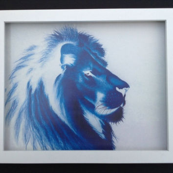 Blue Lion  Guard lion of noblity Print of coloured pencil drawing 8 by 10 inch print of original