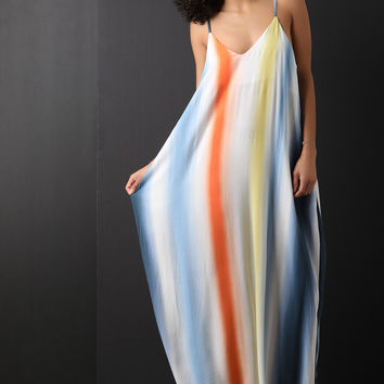 Multicolor Striped V-Neck Maxi Dress | UrbanOG