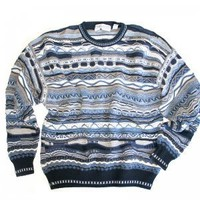 Blue & Tan Horizontal Textured Cosby Style Tacky Ugly Sweater Men's Size Large (L)