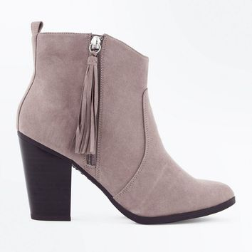 Wide Fit Light Brown Suedette Tassel Zip Heeled Boots | New Look