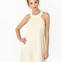 Beige Sleeveless Asymmetrical Chiffon Mini Dress
