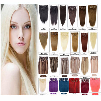 Brazilian Hair Color Clip ins In Humain Hair Extensions 100% Silky Straight Human Remy Hair 7pcs/set 70g 15-22inch