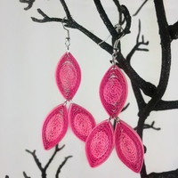 Hot Pink Earrings Unique Chandelier Earrings - funky earrings, funky jewelry, paper quilling earrings, long earrings, bold earrings on point
