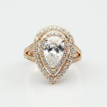 Drop Shape 2CT Esdomera Moissanite Pear Cut Center 14k Rose Gold Double Halo Accents Split Shanks Engagament Ring (CFR0600-MS2CT)