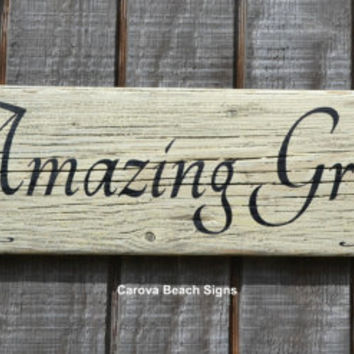 Amazing Grace Wood Sign Rustic Weathered Driftwood Painted Home Decor Religious Scripture Wall Hanger Family Entry Kitchen Dining Primitive