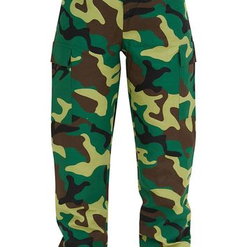 Green Camo Print Cargo Trousers
