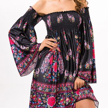 Casual Smocked Bodice Off Shoulder Skater Dress In Tribal Printed